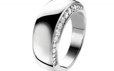 Mart Visser by ZINZI zilveren ring glad wit MVR10