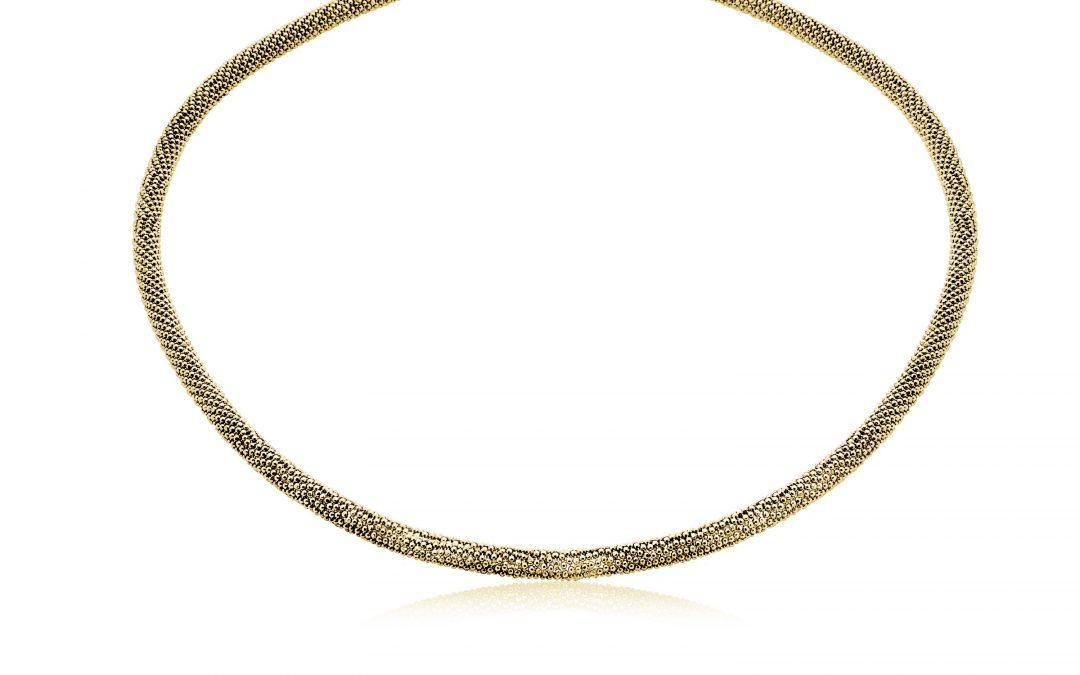 Zinzi strak zilveren collier geelgoud verguld 43cm ZIC681G
