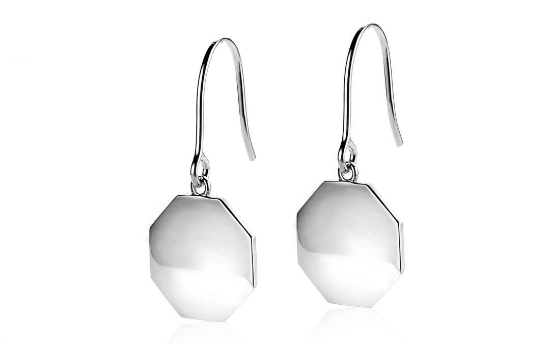 ZINZI zilveren oorhangers glad achtkant 13mm ZIO1257