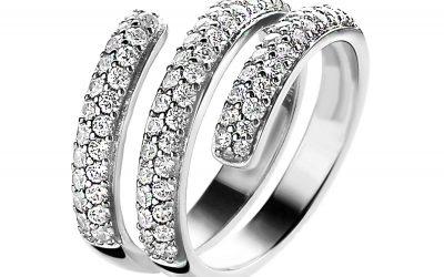 ZINZI zilveren trio ring wit ZIR1253