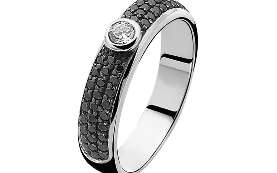 ZINZI zilveren ring zwart ZIR765