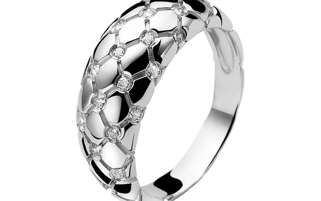 ZINZI zilveren ring wit ZIR876