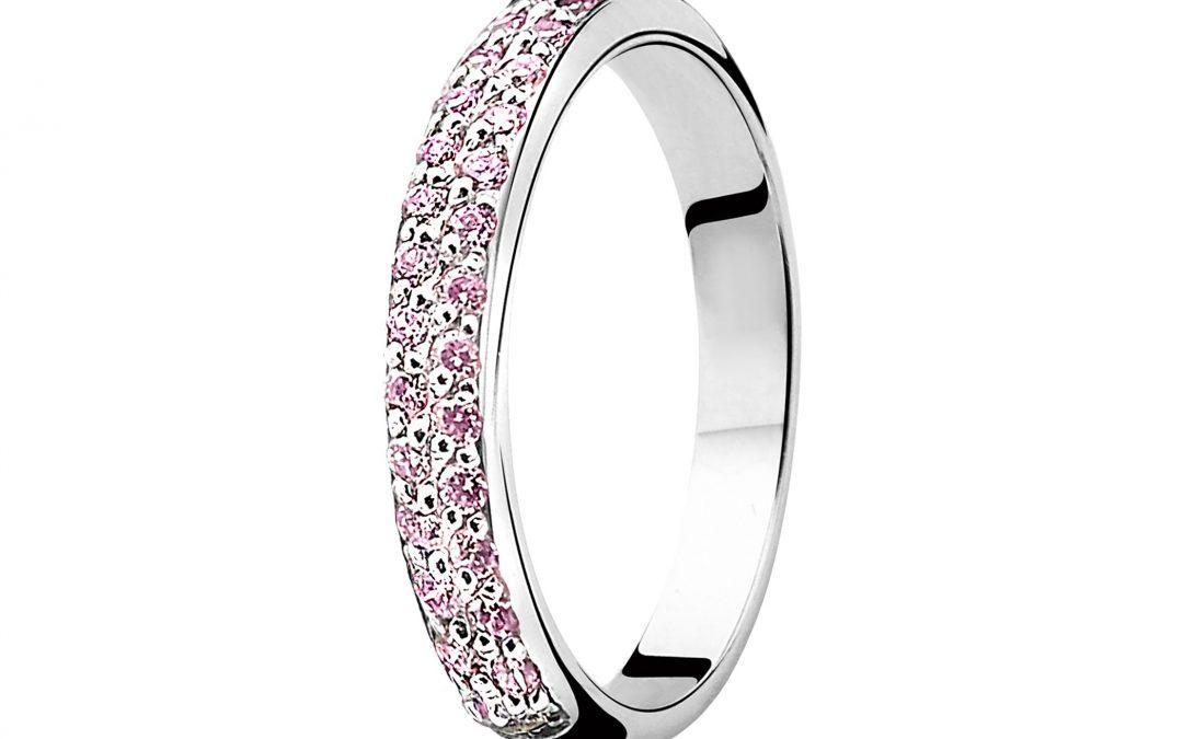 ZINZI zilveren aanschuifring roze ZIR881F