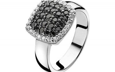 ZINZI zilveren ring zwart ZIR887