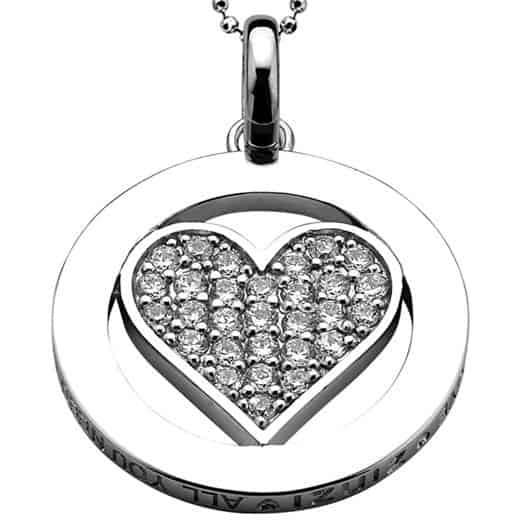 All You Need Is Love by ZINZI zilveren hanger wit LOVEH03